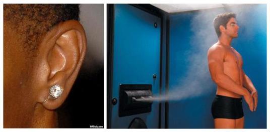 earring and spray tan