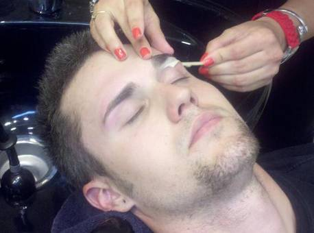 men getting eyebrows done