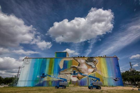 creation of adam, mural in houston, sebastien houston artist